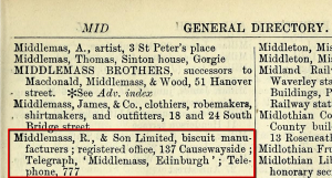 Middlemass & Son entry in the 1905 Edinburgh Post Office Directory