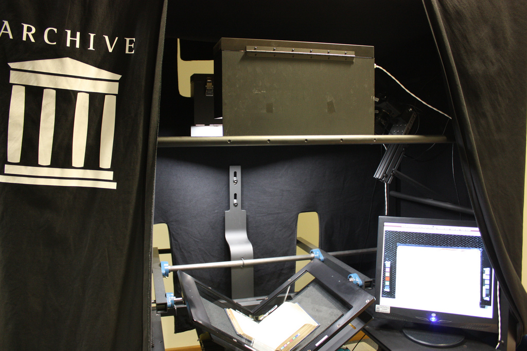 The Internet Archive's V-shaped POD Scanner used at the National Library of Scotland.