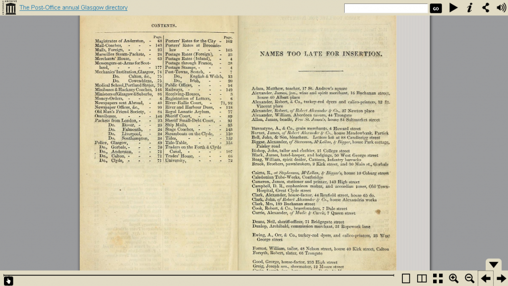 Glasgow Post Office Directory in the online viewer