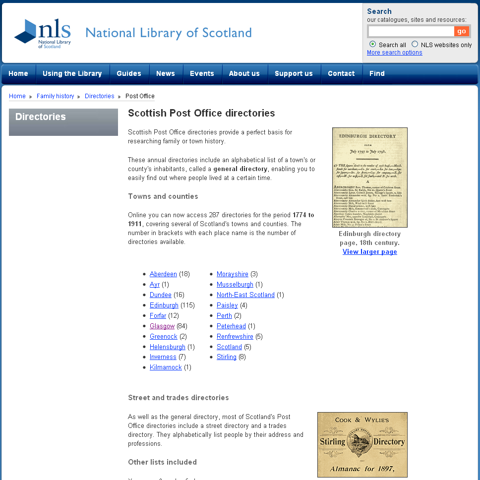 A screen shot of the NLS Scottish Post Officer Directories page